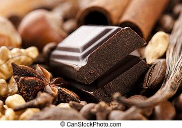 haricots, café, épices, fou, chocolat