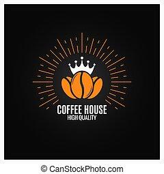 haricots, café, arrière-plan noir, logo