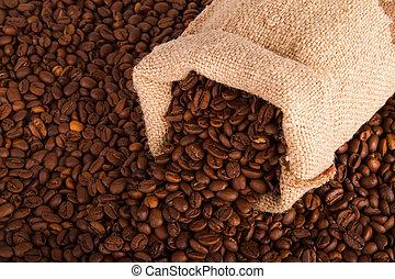 haricots, café, burlap sac