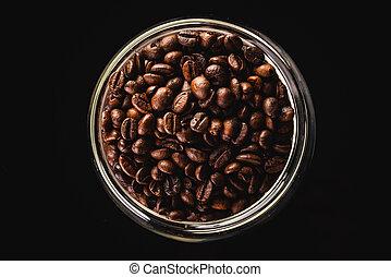 haricots, isolé, café, noir, path., pot, grand, coupure, entiers