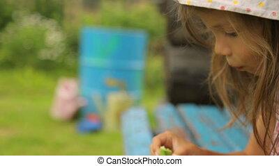 haricots, manger, jardin, girl, peu