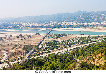 Haridwar in India - Haridwar aerial panoramic view in the...
