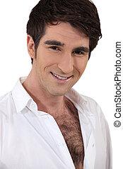 harige borst, wit hemd, man
