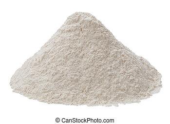 harina, aislado, en, un, fondo blanco