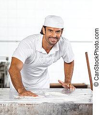 harina, panadero, confiado, limpieza, tabla, macho