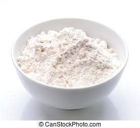 harina, porcelana, tazón, blanco, llenado