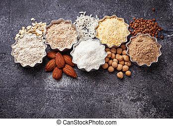 harina, selección, vario, gluten, libre