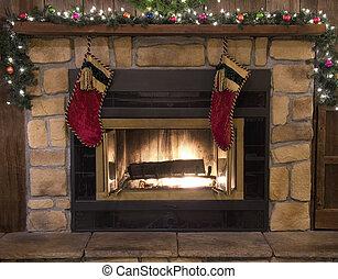 harisnya, kandalló, kandalló, karácsony, táj