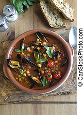 Harissa and mussel soup