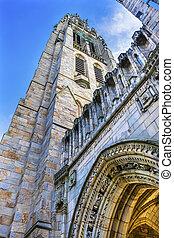 harkness, viejo, campus de la universidad, connecticut, yale, nuevo, tower arch, asilo