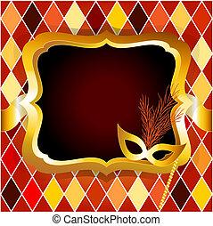 harlekijn, of, venitian, carnaval, bal, uitnodigingskaart