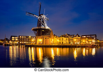 Harlem landmark windmill De Adriaan on Spaarne river. Harlem...