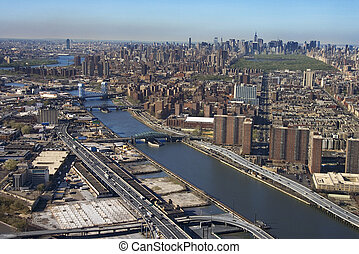 Harlem River and Bronx. - Aerial view of Harlem River and ...