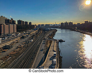 Harlem River View - Aerial view along the Harlem River of ...