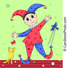 Harlequin. - Cartoon harlequin plays with a cat and a bird....