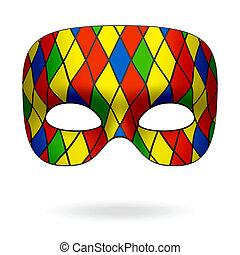 Harlequin mask illustration