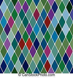 Harlequine Esmerald seamless pattern background vector...