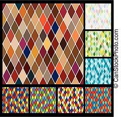 Harlequine pattern set. Color bright decorative background...