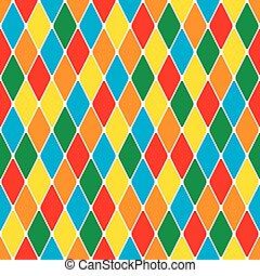 harlequin's, pattern., seamless, alegre, policromático,...