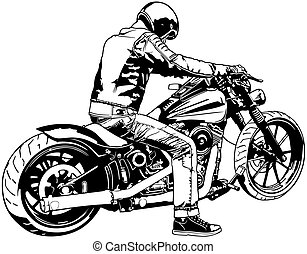 Harley Davidson and Rider - Black and White Illustration, Vector