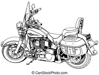 Harley Softail Motorcycle - Black Line Illustration