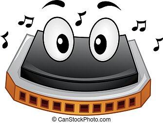 harmônica, mascote, notas música