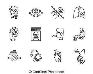 Harm of smoking black line vector icons set