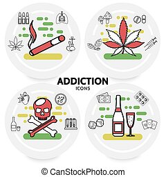 Harmful Addictions Concept - Harmful addictions concept with...