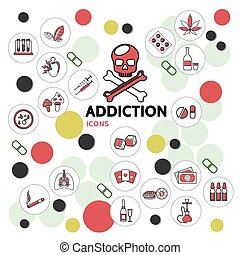 Harmful Addictions Line Icons Collection