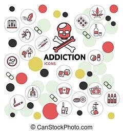 Harmful Addictions Line Icons Collection - Harmful...