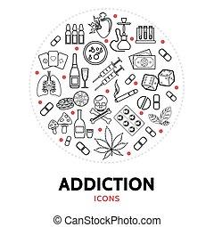 Harmful Addictions Round Concept - Harmful addictions round...
