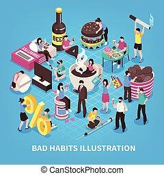 Harmful Habits Isometric Illustration - Harmful habits...
