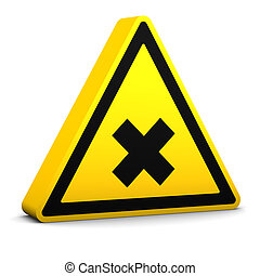 Harmful Sign - Harmful yellow sign on a white background. ...