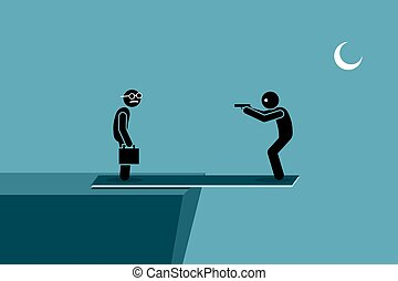 Man try to kill another person while standing on a plank outside the ledge of a hill. If the other person dies, he will die too by falling down.