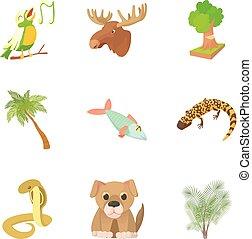 Harmless animal icons set, cartoon style