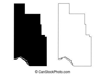 Harmon County, Oklahoma State (U.S. county, United States of America, USA, U.S., US) map vector illustration, scribble sketch Harmon map