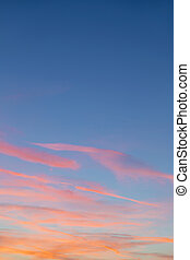 harmonic pattern of blue and red sky in sunset