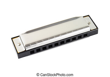 Silver diatonic blues harp isolated on white