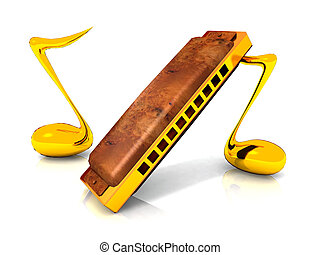 Harmonica with musical notes