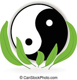 harmonie, vie, yin, symbole, yang