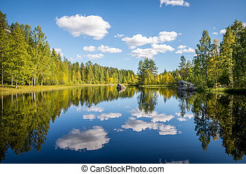 harmonious picture of a tranquil lake with reflections of trees and sky