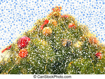 fur-tree with falling snowflakes