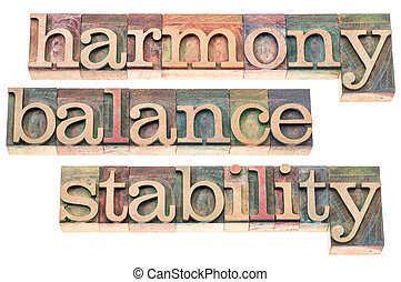 harmony, balance and stability typography - isolated text in...