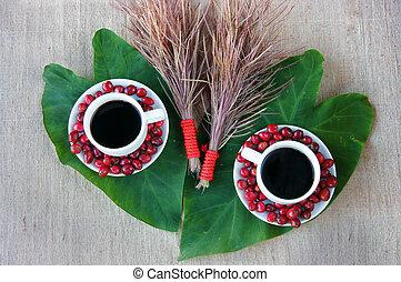 Harmony concept, coffee bean,  black roasted cafe