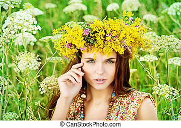 harmony flowers - Romantic girl in a wreath of wild flowers...