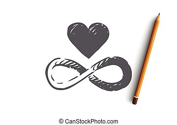 Harmony, heart, balance, heart, unity concept. Hand drawn isolated vector.