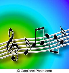 Harmony Of Sound - Musical Symbols over Bright Multicolored...