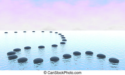 Harmony. Pebble path on the water over blue sky