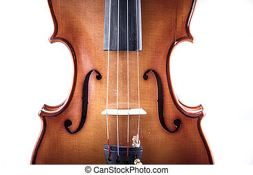 Harmony, Violin front view isolated on white, vintage