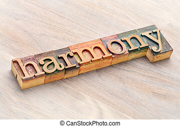 harmony word abstract in wood type